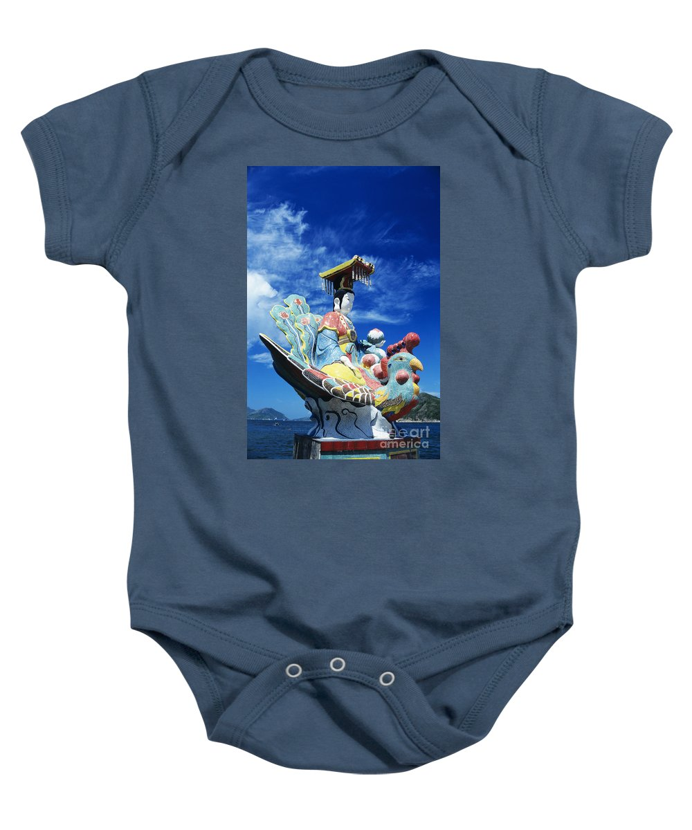 Afternoon Baby Onesie featuring the photograph Tin Hua Temple Closeup Of Colorful Statue by Gloria and Richard Maschmeyer - Printscapes
