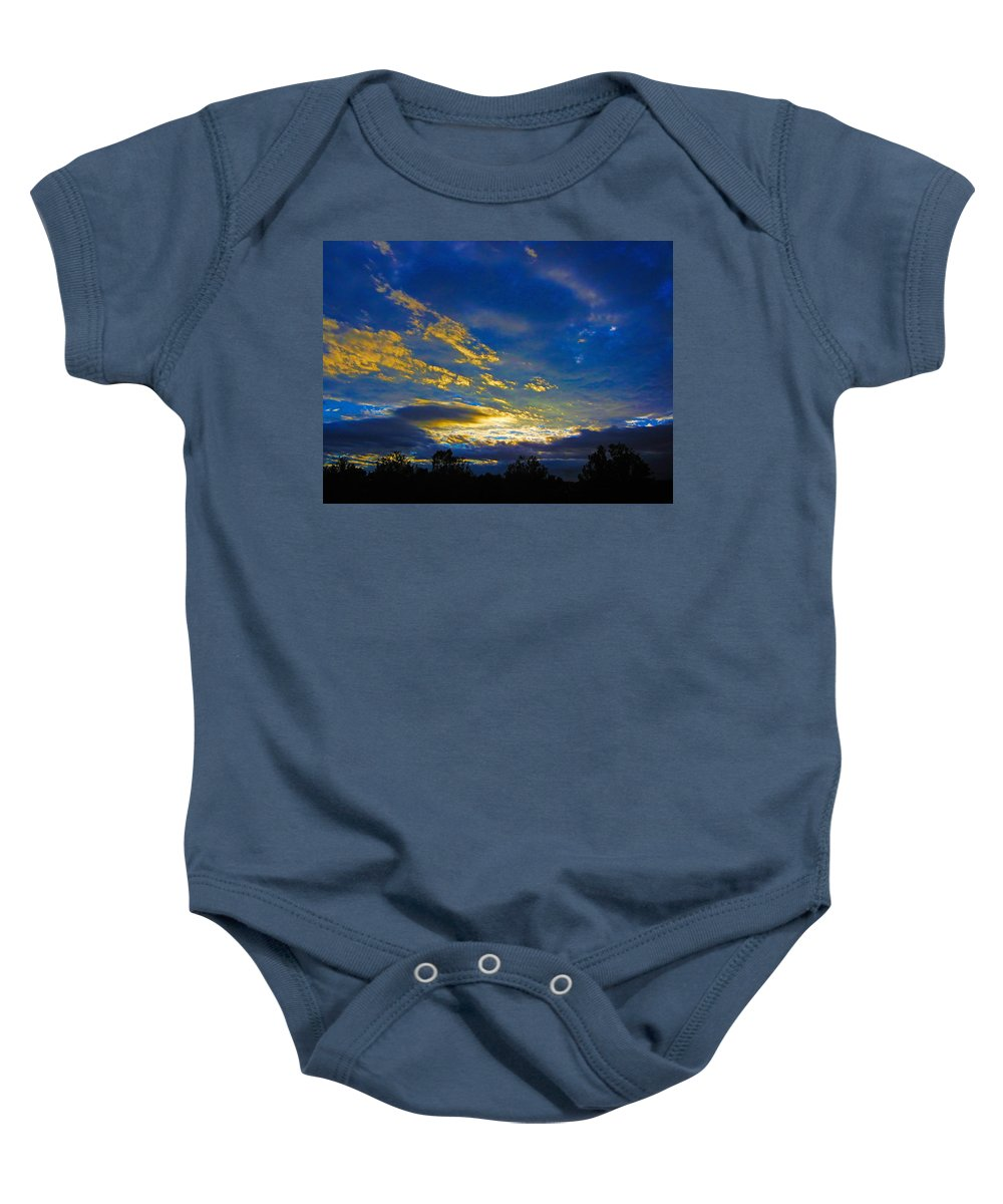 Sunrise Baby Onesie featuring the photograph Tricky Sunrise by Mark Blauhoefer