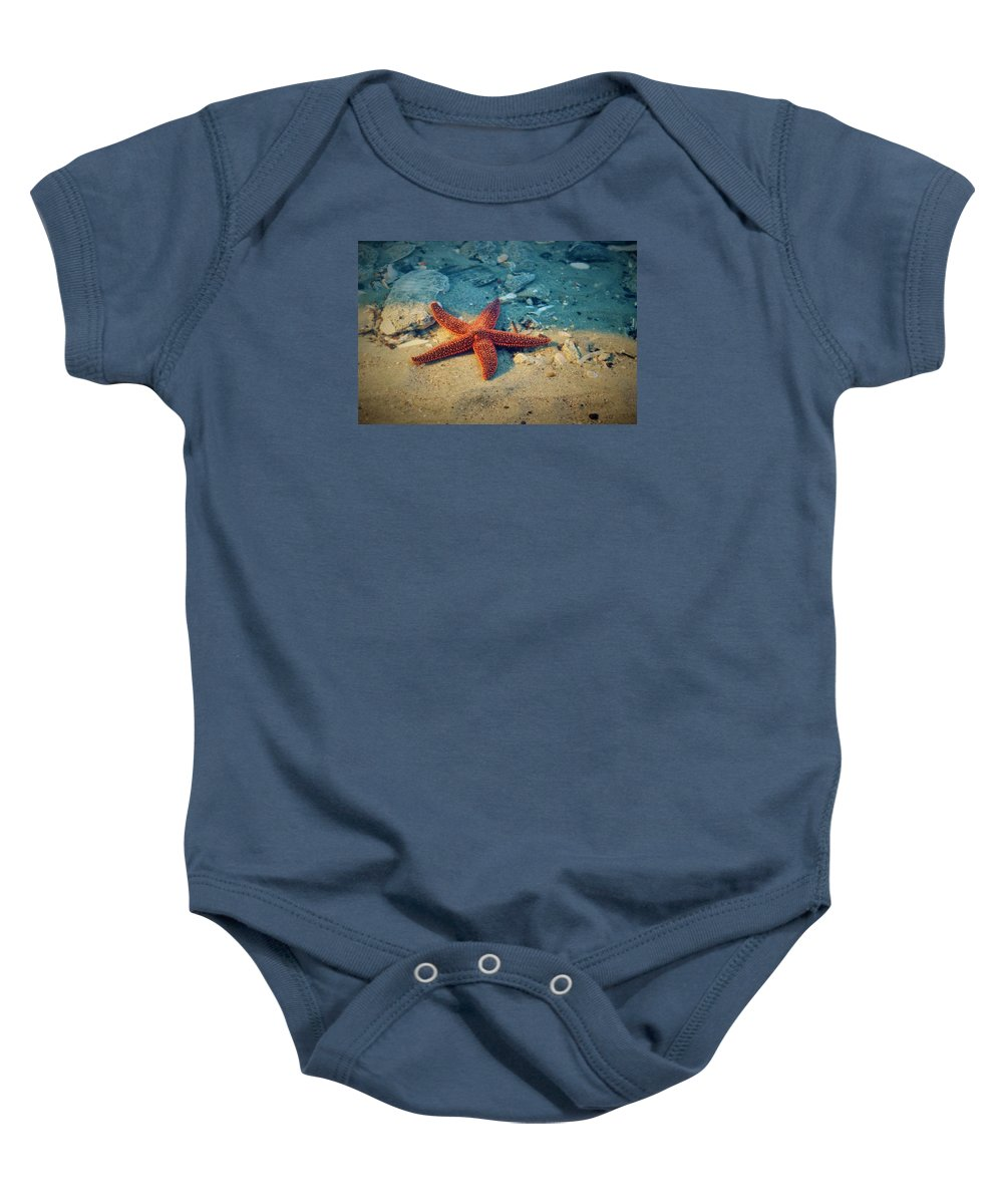 Starfish Baby Onesie featuring the photograph Try Not To Star-e by Sandra Bennett