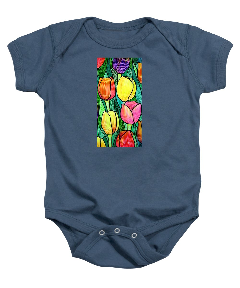 Tulips Baby Onesie featuring the painting Tulip Expo by Jim Harris