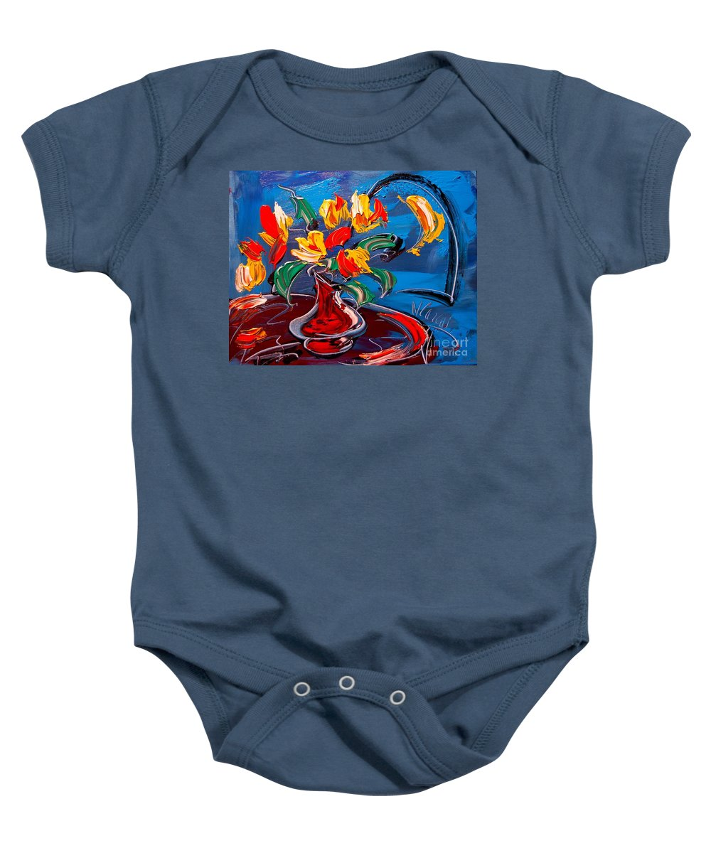 Tulips Blue Baby Onesie featuring the painting Tulips And Moon by Mark Kazav