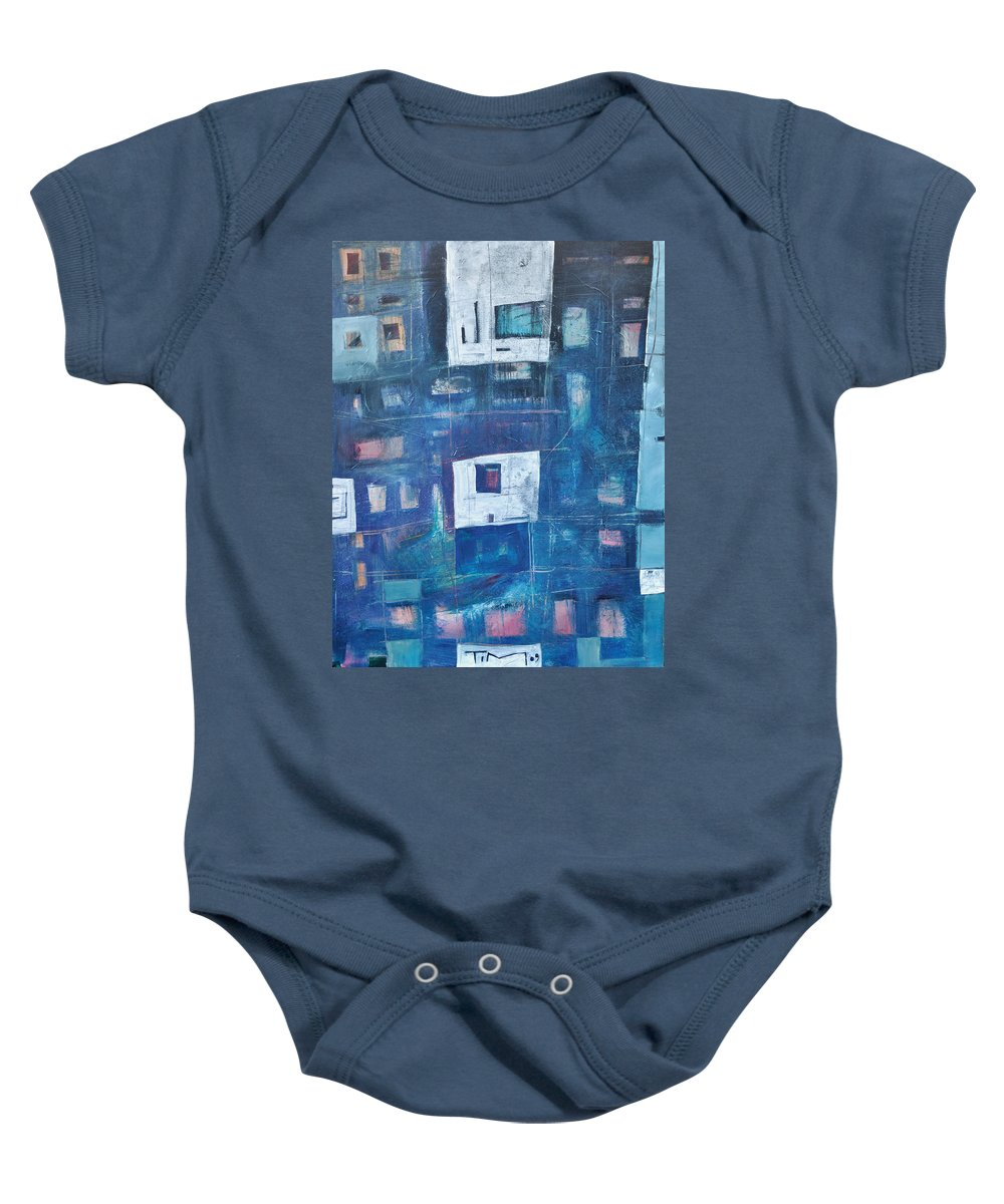 Abstract Baby Onesie featuring the painting Twilight Highrise by Tim Nyberg