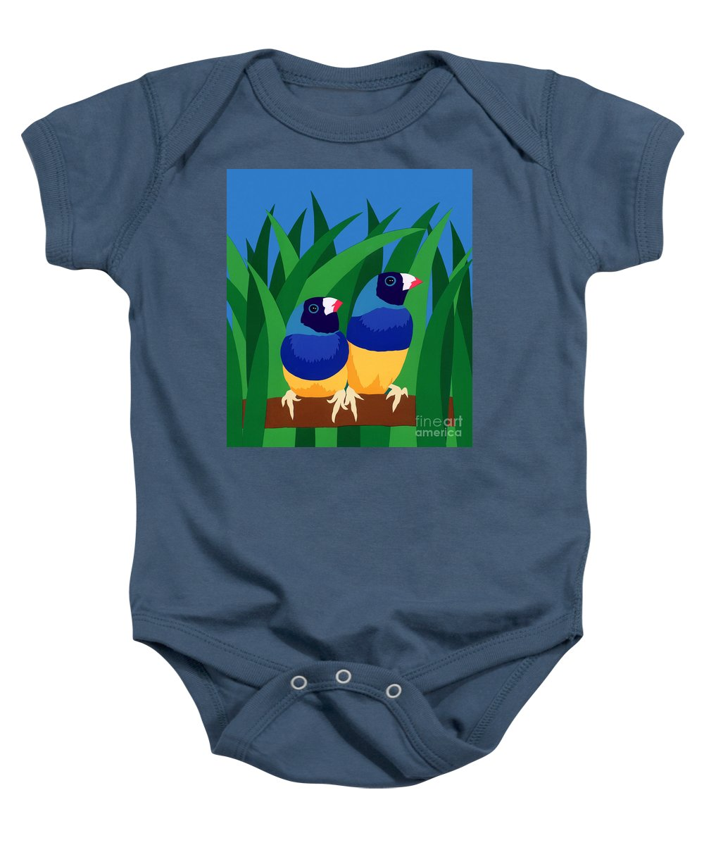 Nature Baby Onesie featuring the drawing Two Birds Sharing A Branch by Lucyna A M Green