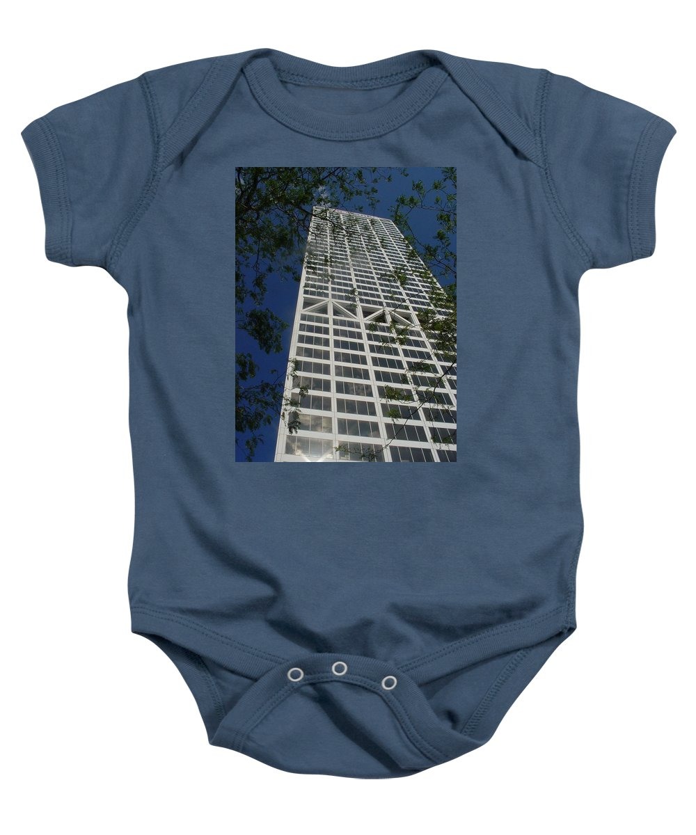 Us Bank Baby Onesie featuring the photograph Us Bank With Trees by Anita Burgermeister