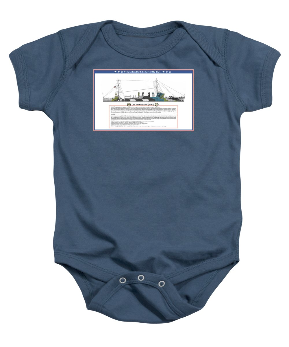 Destroyer Baby Onesie featuring the painting USS Fairfax DD 93 by The Collectioner