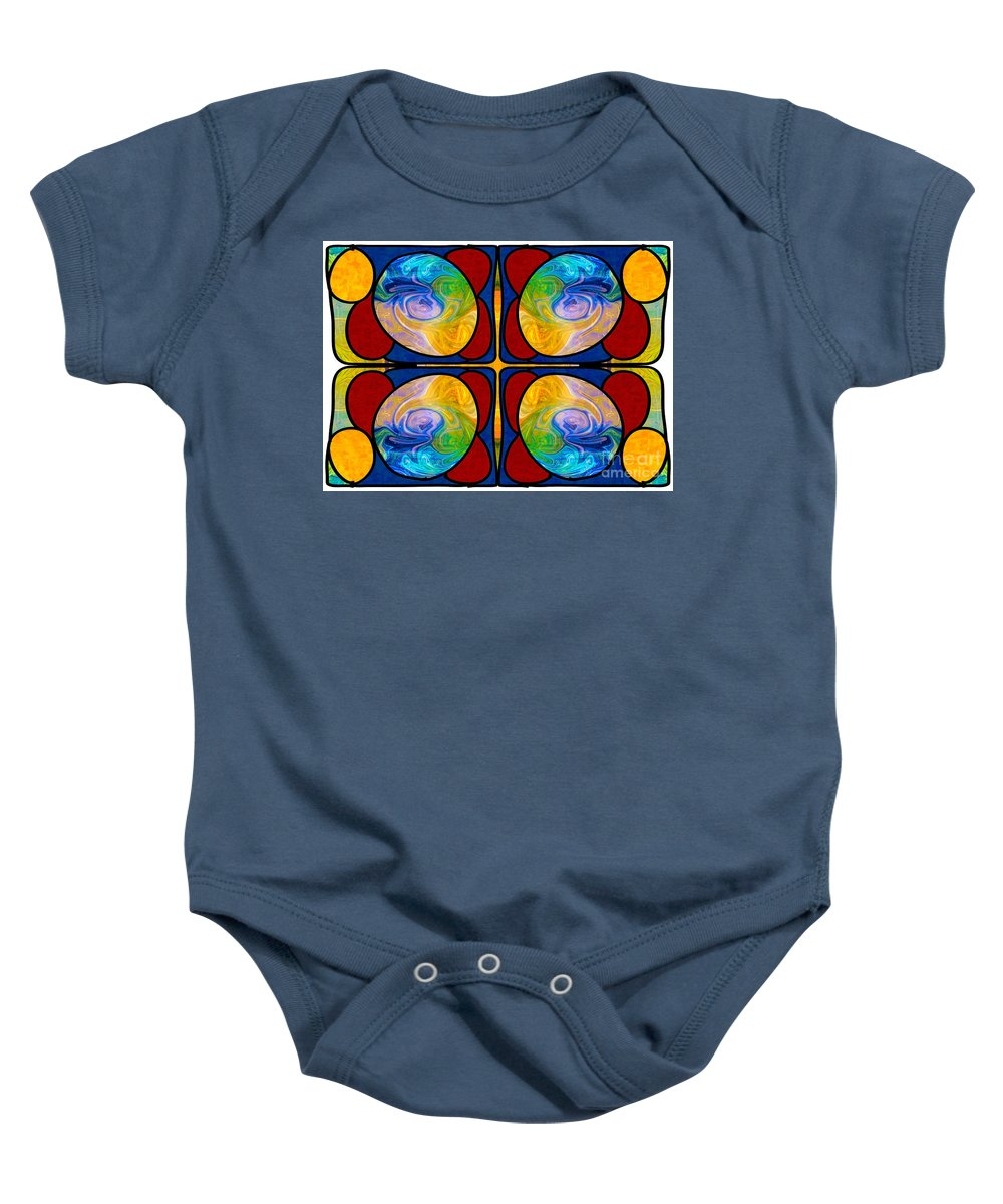 2015 Baby Onesie featuring the digital art Visions Of Bliss And Abstract Artwork By Omaste Witkowski by Omaste Witkowski