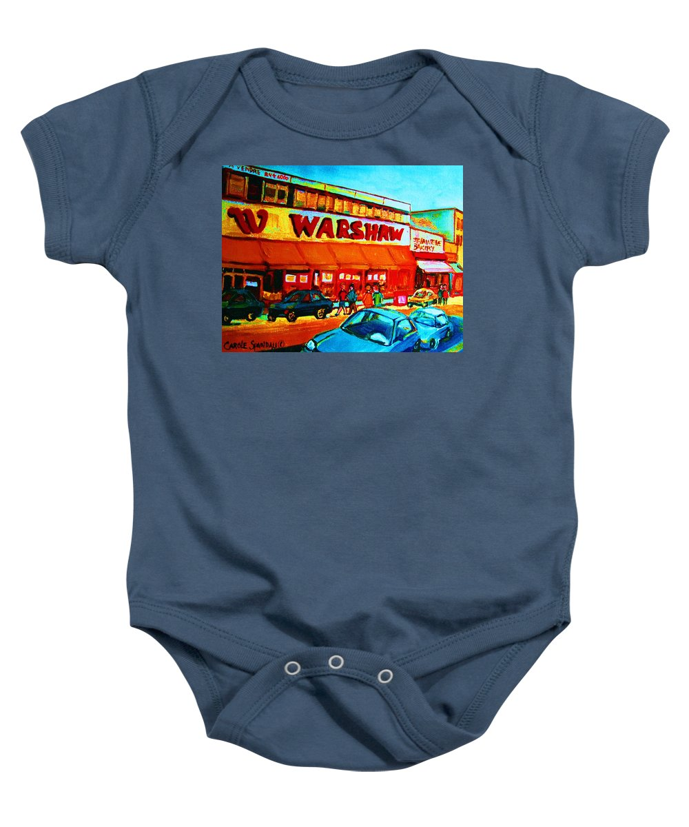 Warshaws Fruit Store Baby Onesie featuring the painting Warshaws Fruitstore On Main Street by Carole Spandau