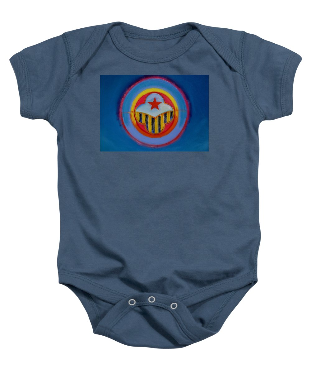 Button Baby Onesie featuring the painting Wasp by Charles Stuart