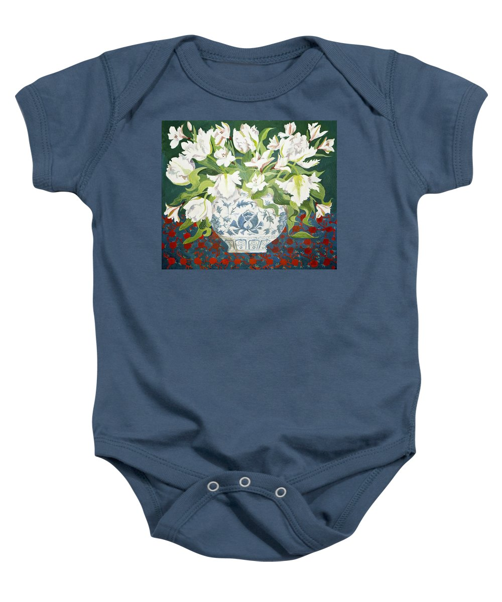 Still-life Baby Onesie featuring the painting White Double Tulips And Alstroemerias by Jennifer Abbot