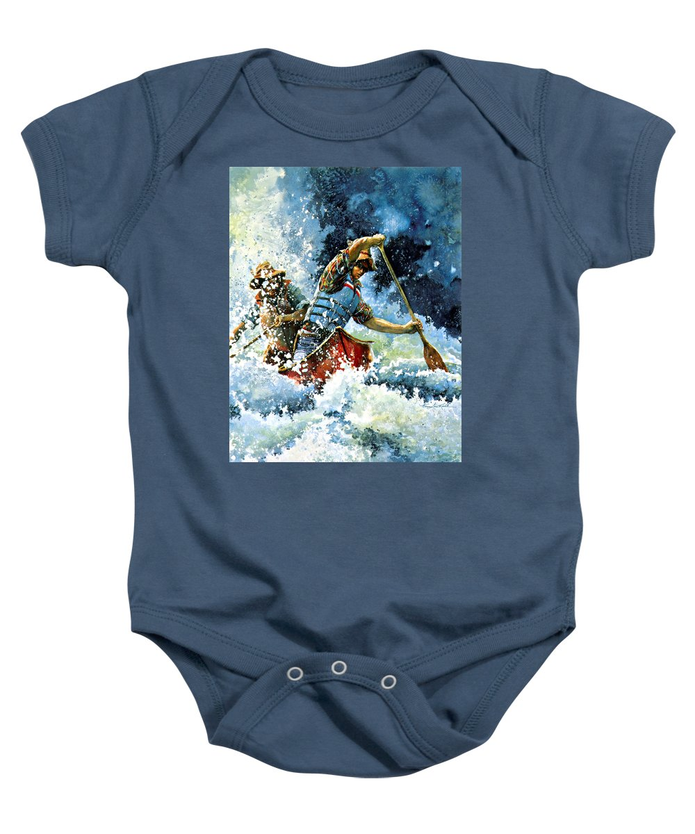 Sports Artist Baby Onesie featuring the painting White Water by Hanne Lore Koehler