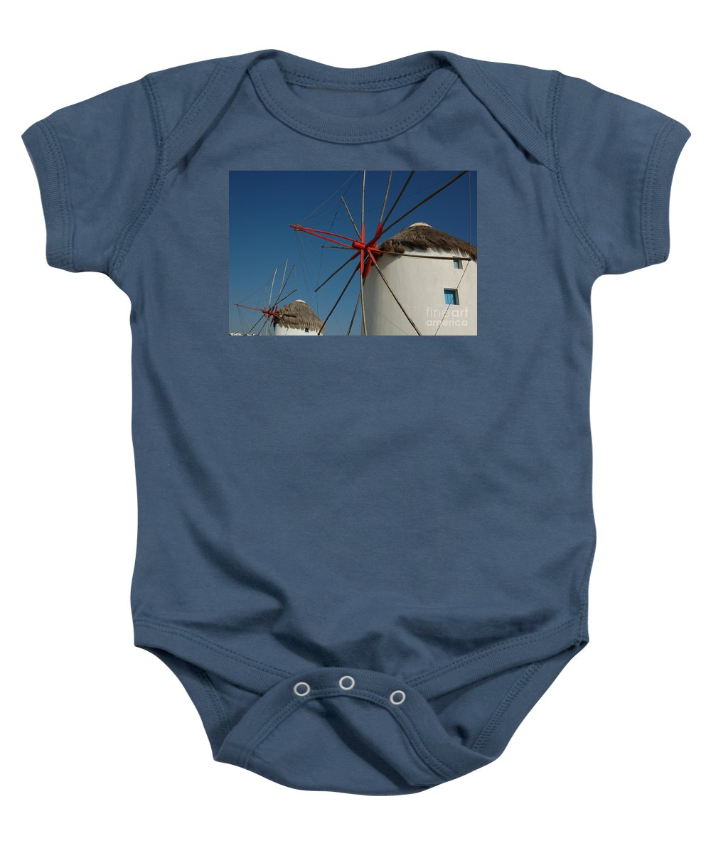 Mykonos Baby Onesie featuring the photograph Windmills by Joe Ng