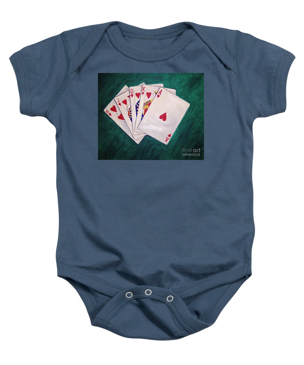 Playing Cards Wining Hand Role Flush Baby Onesie featuring the painting Wining Hand 2 by Herschel Fall