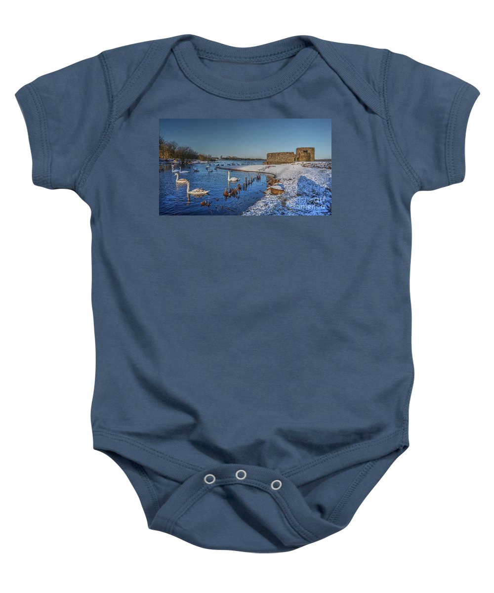 Brownhills Baby Onesie featuring the photograph Winter Swan Lake by Mickey At Rawshutterbug