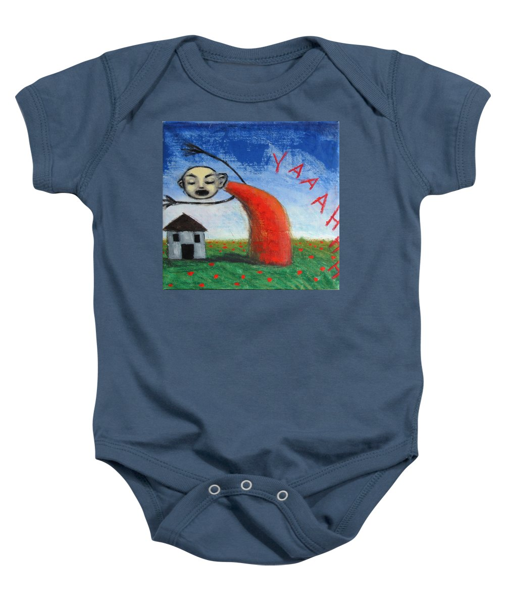 Figure Baby Onesie featuring the painting Yaaahhh by Pauline Lim