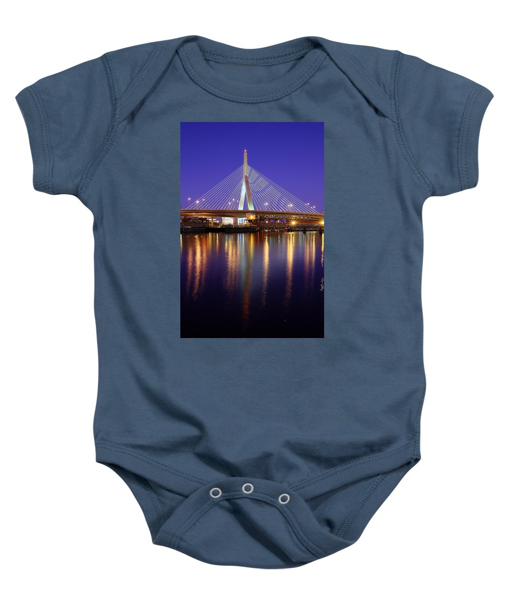 Boston Baby Onesie featuring the photograph Zakim At Twilight II by Rick Berk