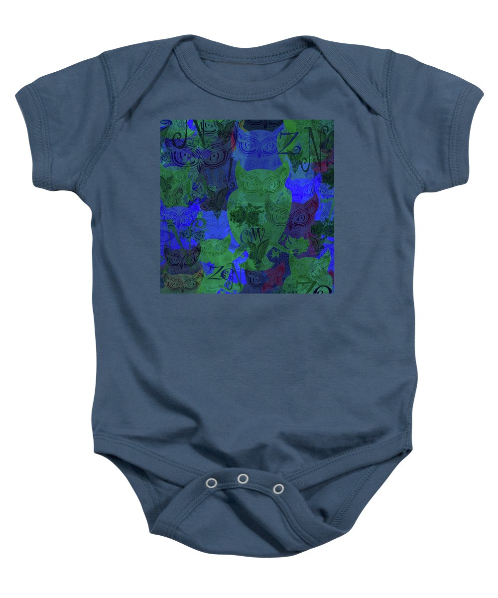 Baby Onesie featuring the mixed media Zen Owl Midnight Blue by Wagl Store