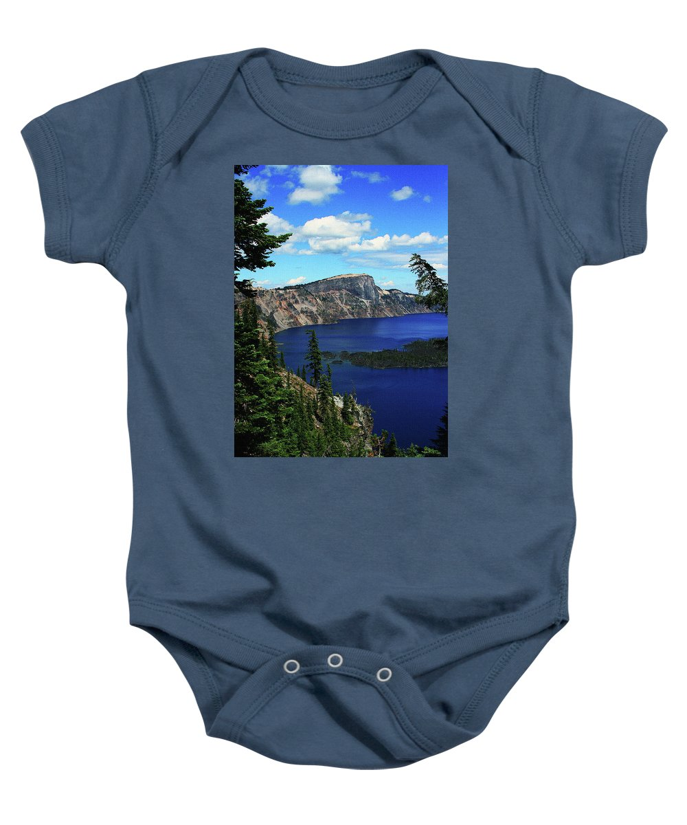 Crater Lake Oregon Baby Onesie featuring the digital art Crater Lake Oregon by Tom Janca