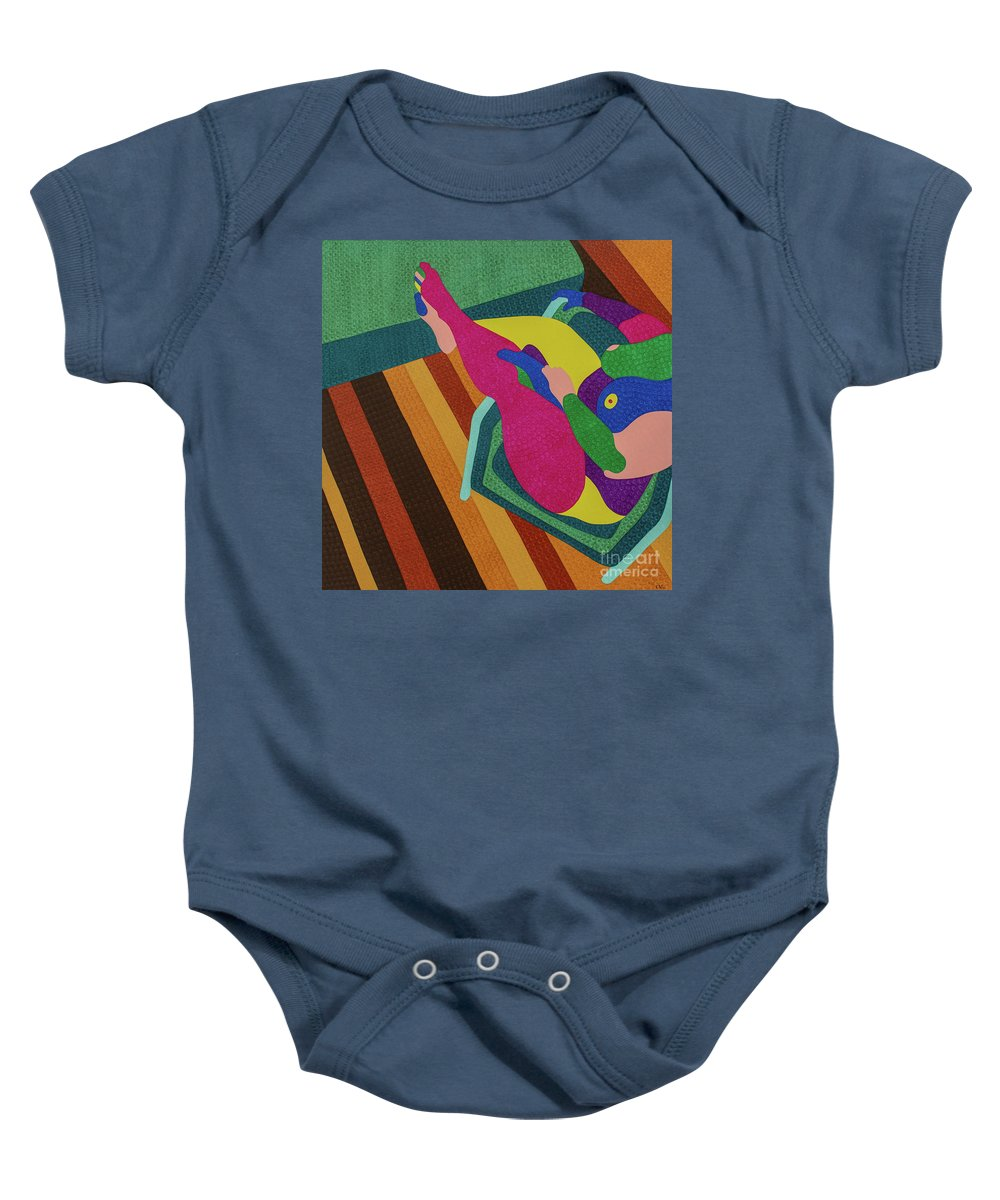 Body Baby Onesie featuring the painting A Woman In A Chair by Natalia Lvova