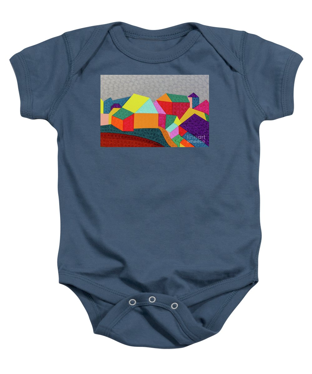 Brightcolor Baby Onesie featuring the painting City 2 by Natalia Lvova