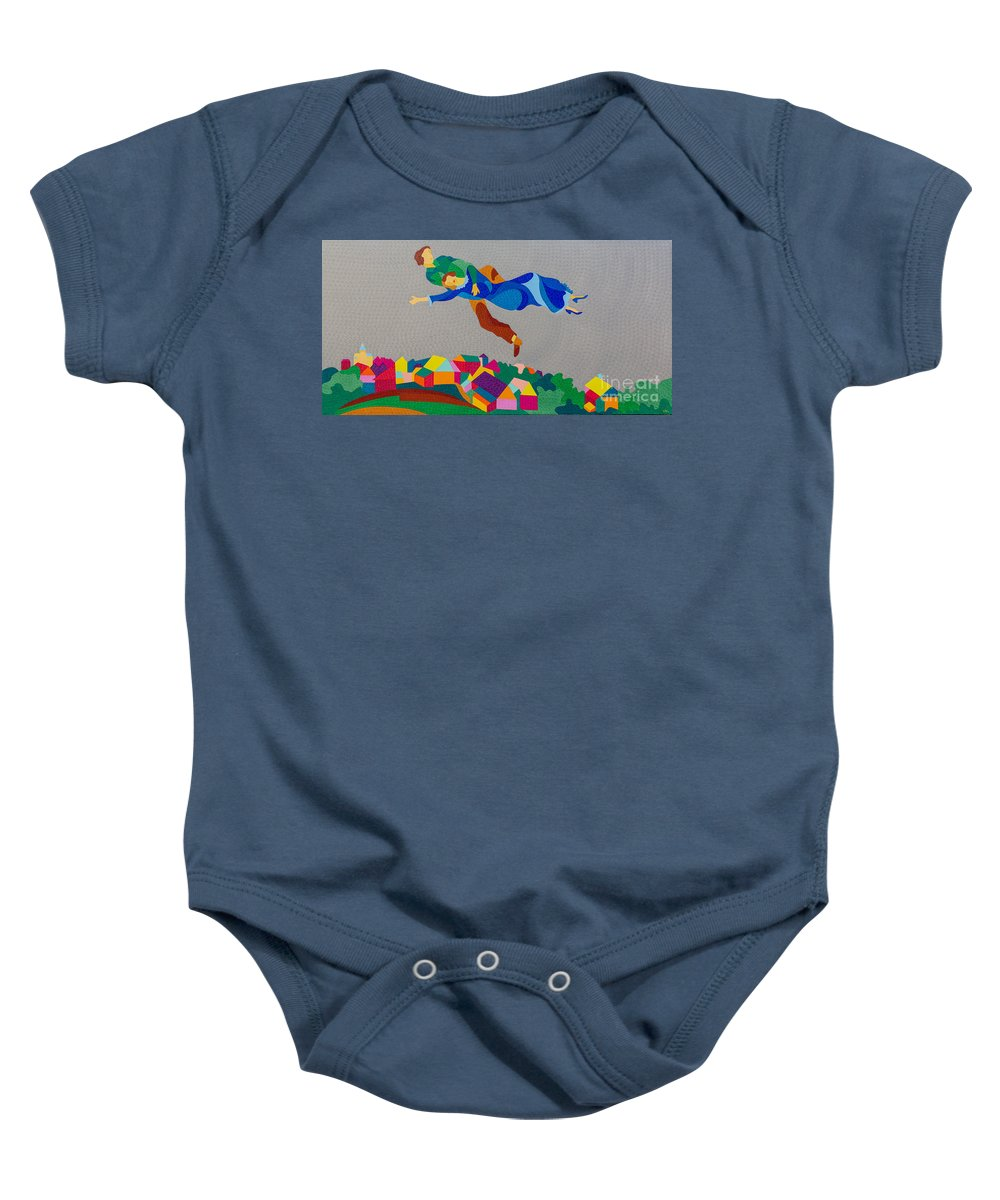 Twiddleart Baby Onesie featuring the painting Mark And Bella Chagall Above The City by Natalia Lvova