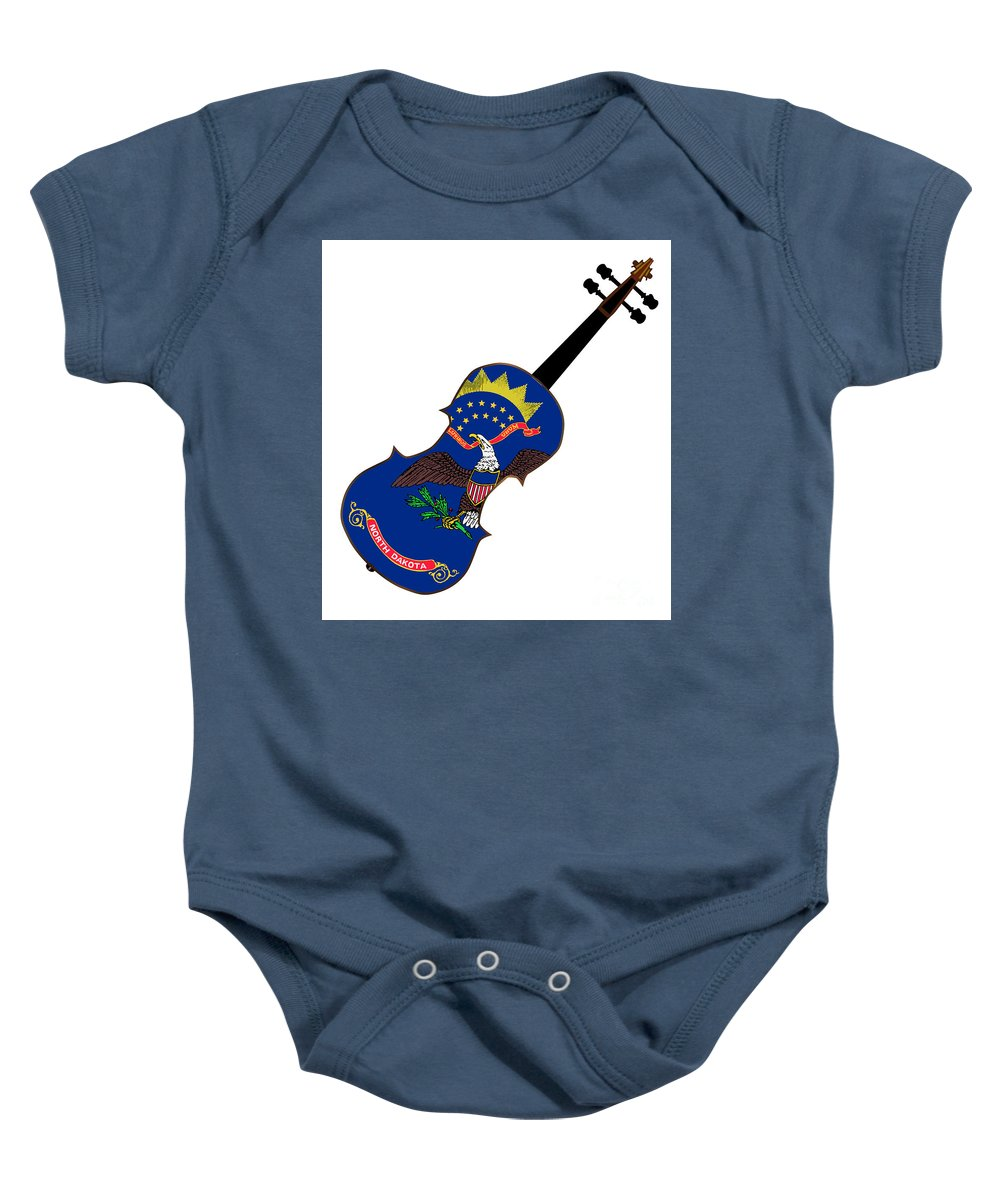 Violin Baby Onesie featuring the digital art North Dakota State Fiddle by Bigalbaloo Stock