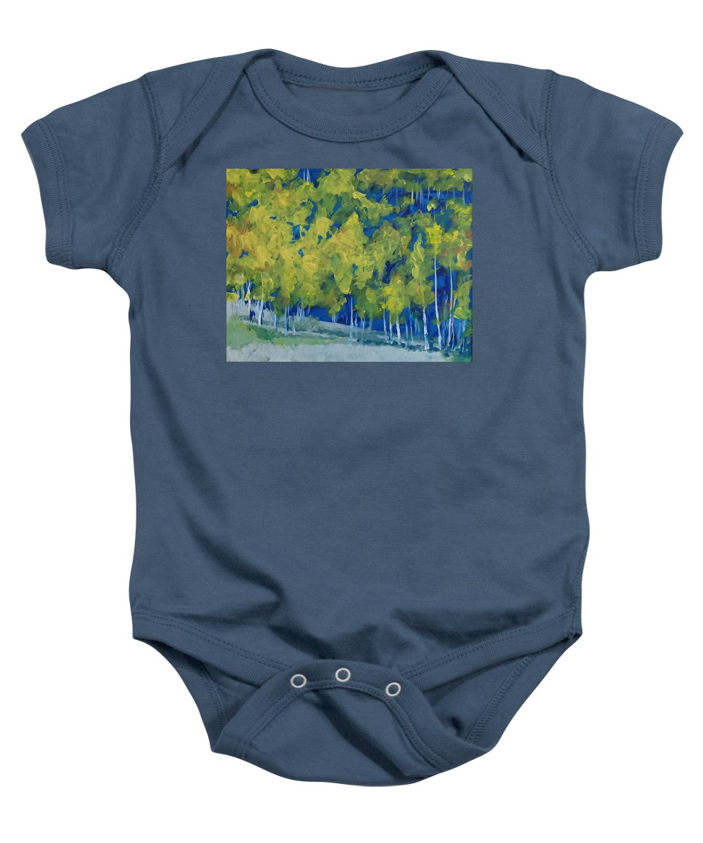 Forest Baby Onesie featuring the painting Park City Forest by Philip Fleischer