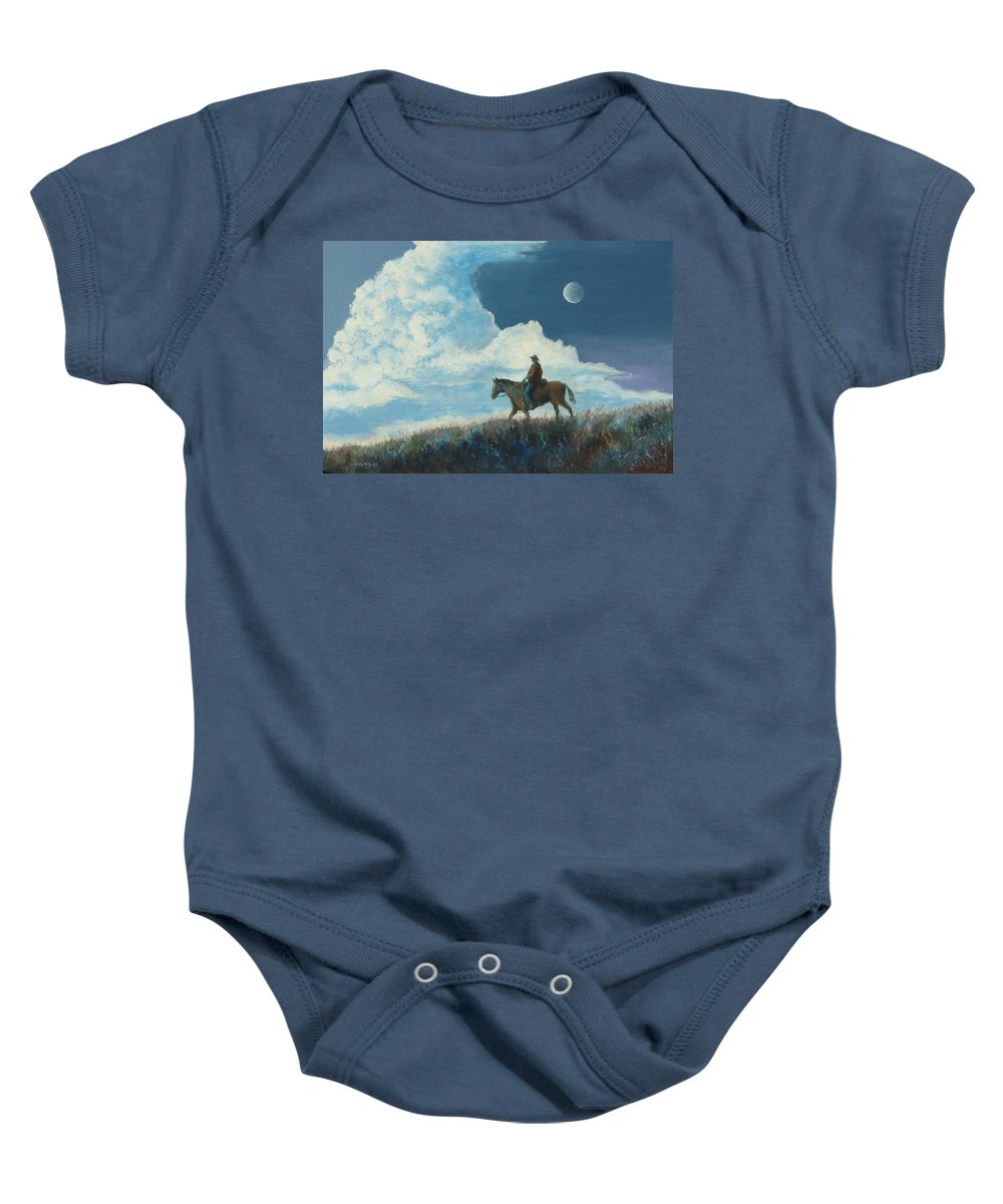 Cowboy Baby Onesie featuring the painting Rider Against the Sky by Jerry McElroy