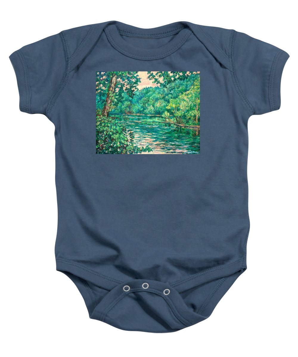 Landscape Baby Onesie featuring the painting Evening River Motion by Kendall Kessler
