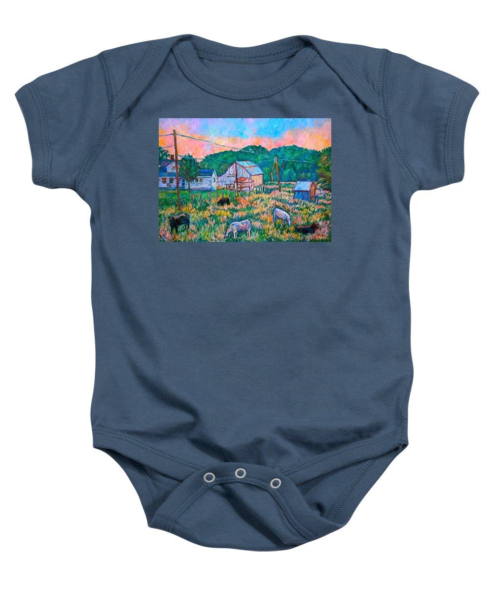 Landscape Baby Onesie featuring the painting Farm Near Fancy Gap by Kendall Kessler
