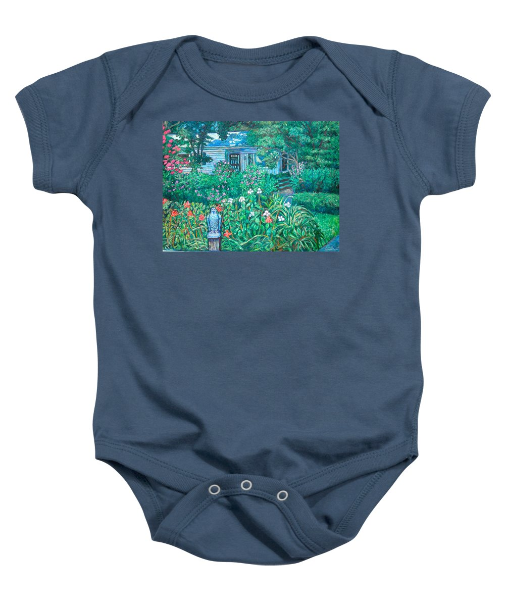 Landscape Baby Onesie featuring the painting House on Chesterbrook Road in McLean by Kendall Kessler