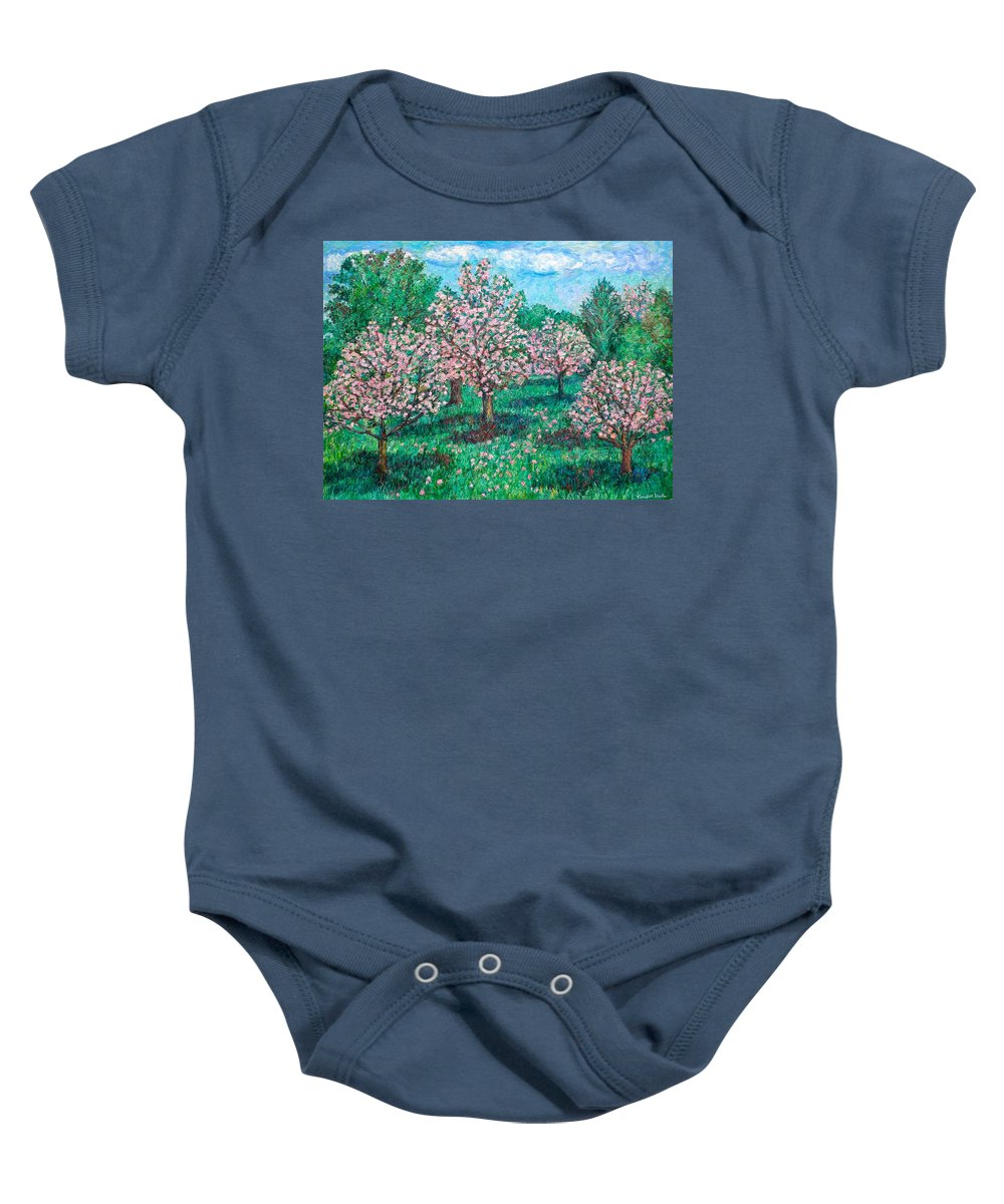 Landscape Baby Onesie featuring the painting Pink Wave by Kendall Kessler