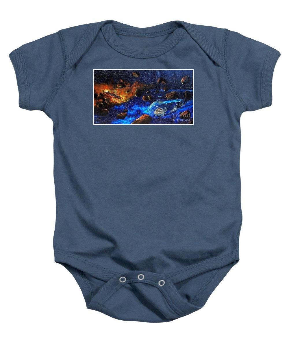 Future Baby Onesie featuring the painting Spaceship Titanic by Murphy Elliott