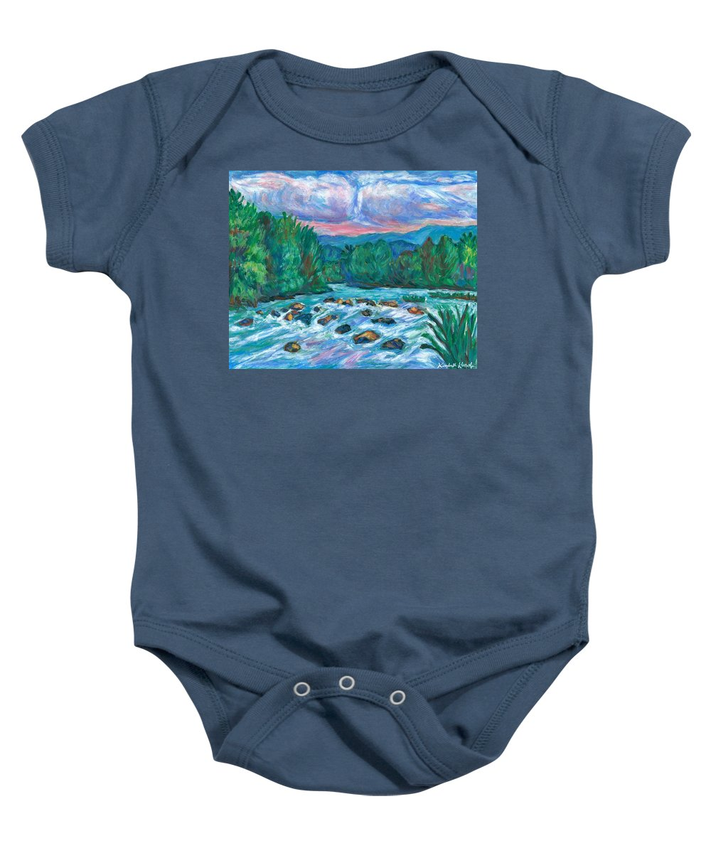 Landscape Baby Onesie featuring the painting Stepping Stones on the New River by Kendall Kessler