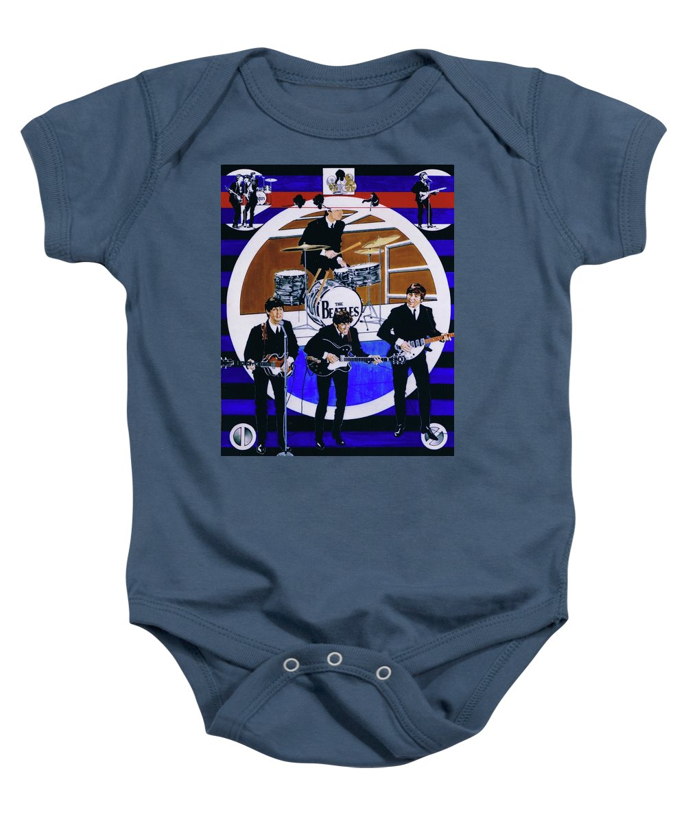 The Beatles Live Baby Onesie featuring the drawing The Beatles - Live On The Ed Sullivan Show by Sean Connolly