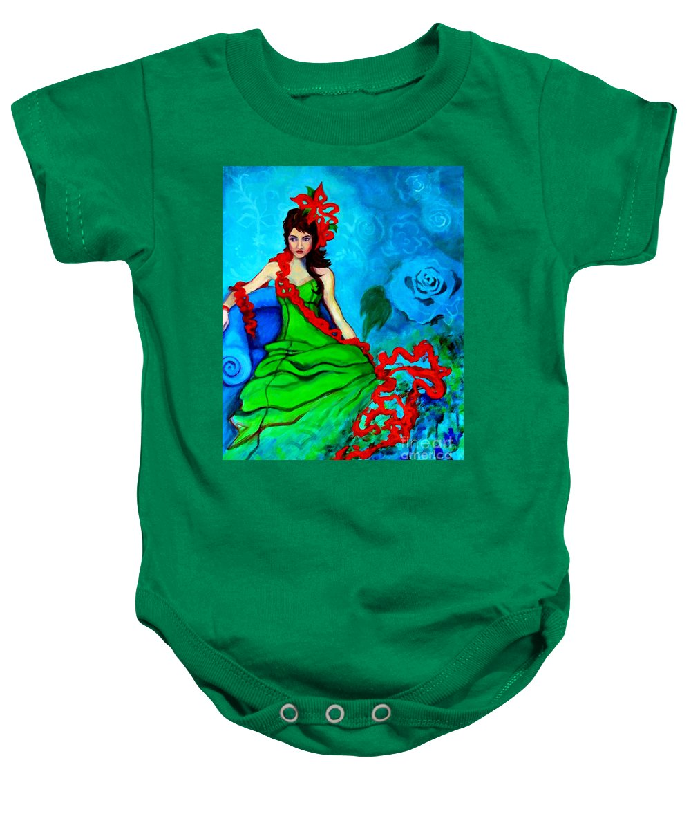 Woman Baby Onesie featuring the painting Blue Compliments by Angelique Bowman