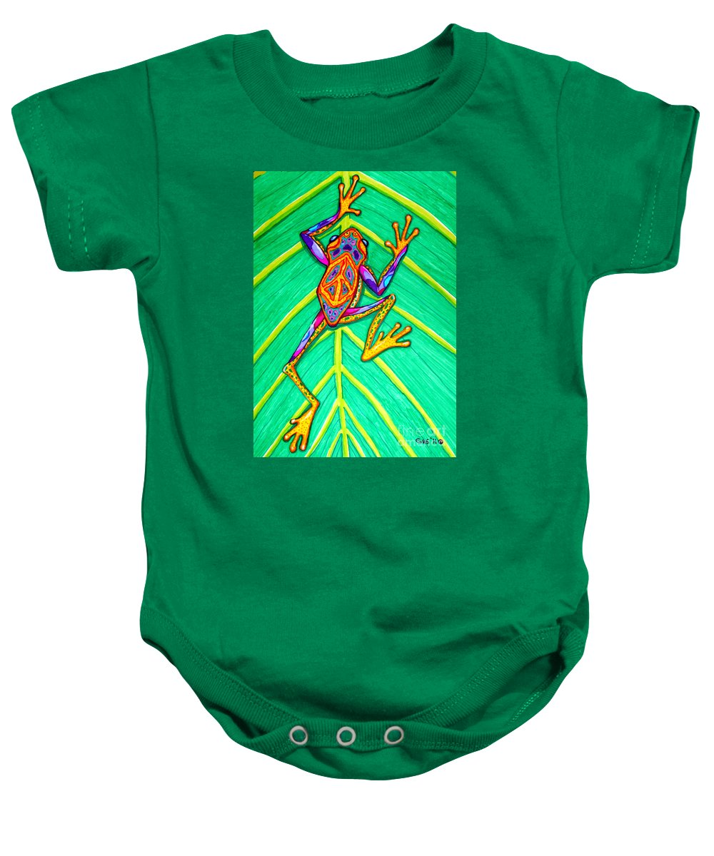 Frog Baby Onesie featuring the mixed media Peace Frog by Nick Gustafson