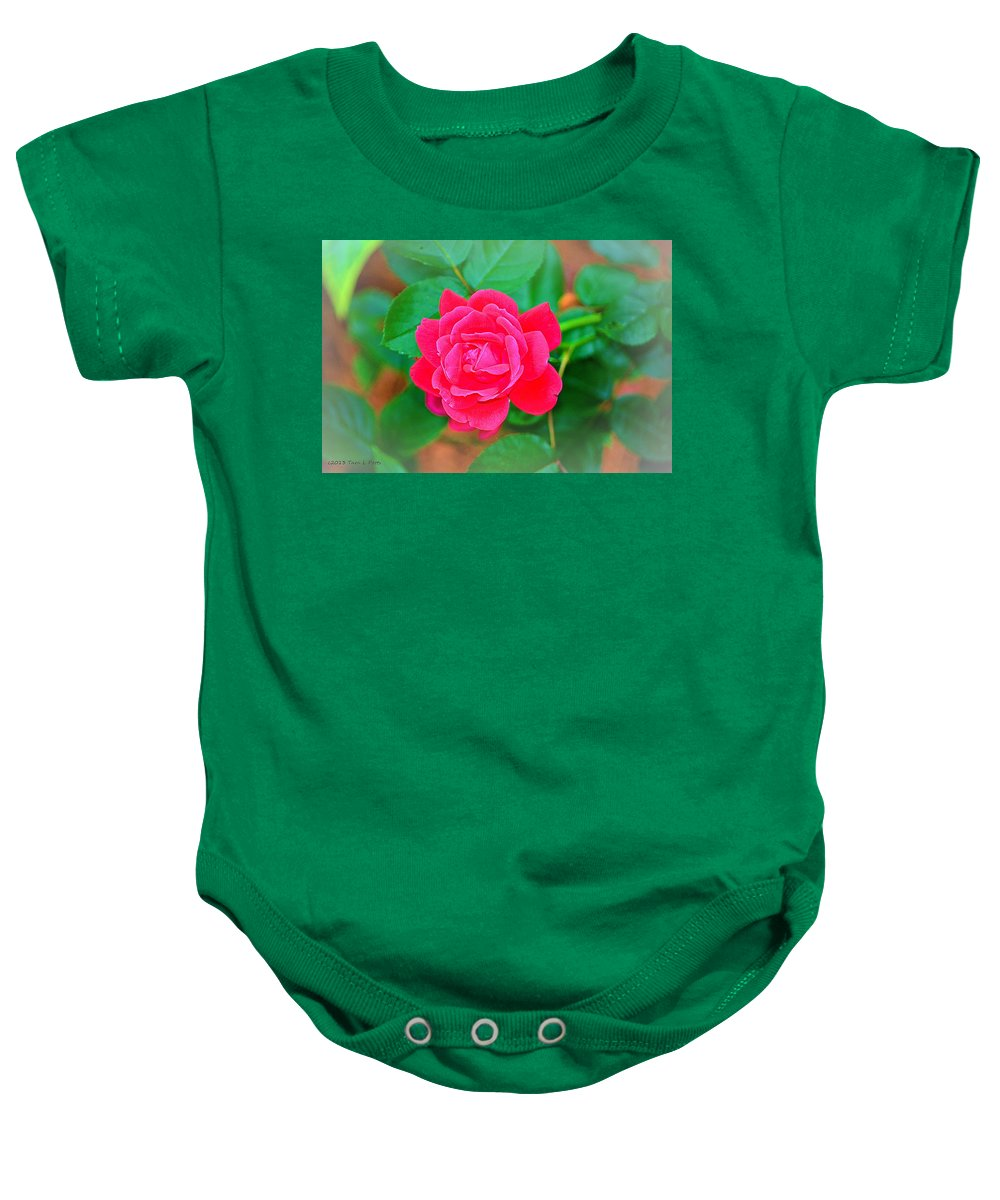 Rose Baby Onesie featuring the photograph Single Rose by Tara Potts