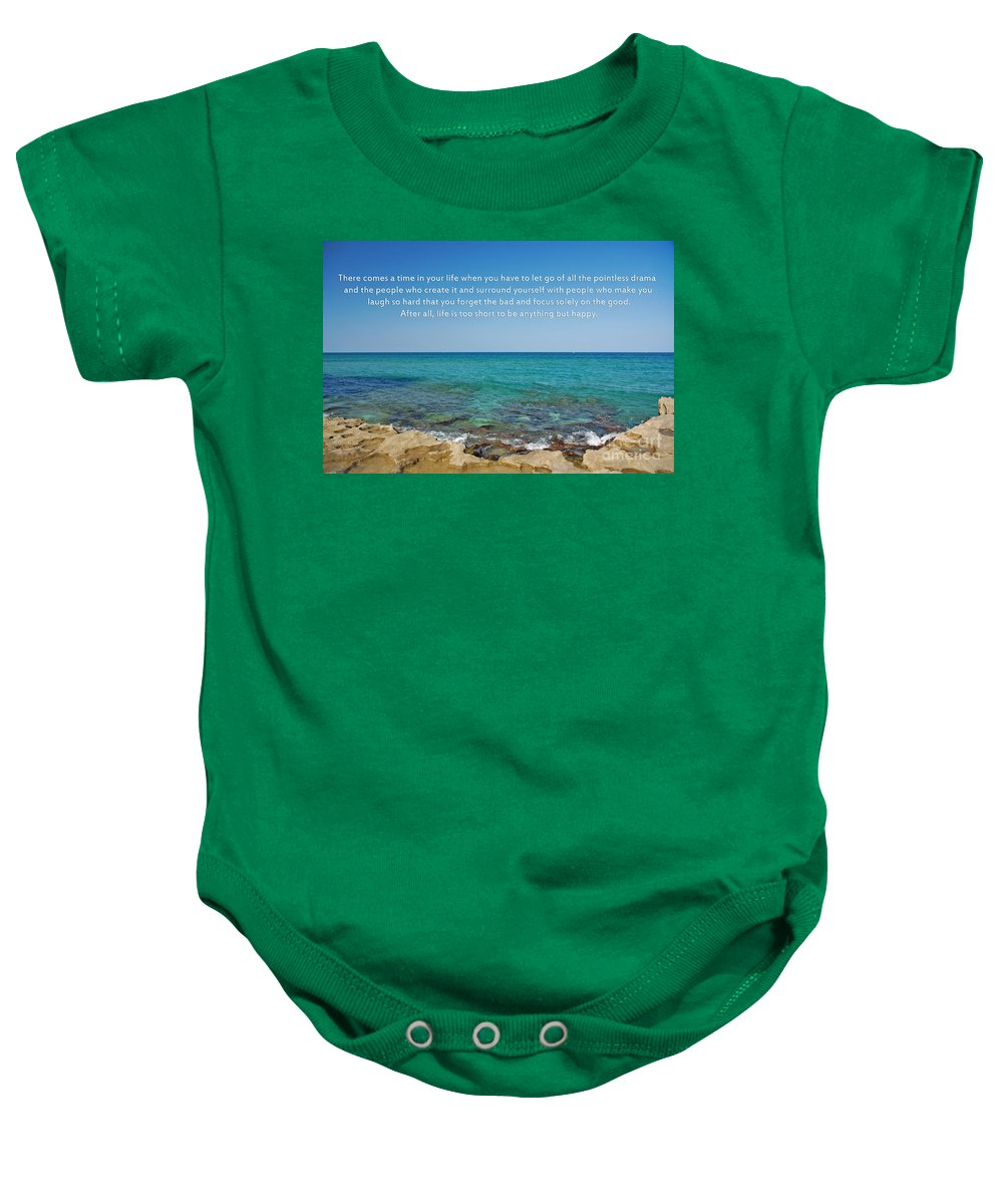 Inspirational Quotes Baby Onesie featuring the photograph 53- Be Happy by Joseph Keane