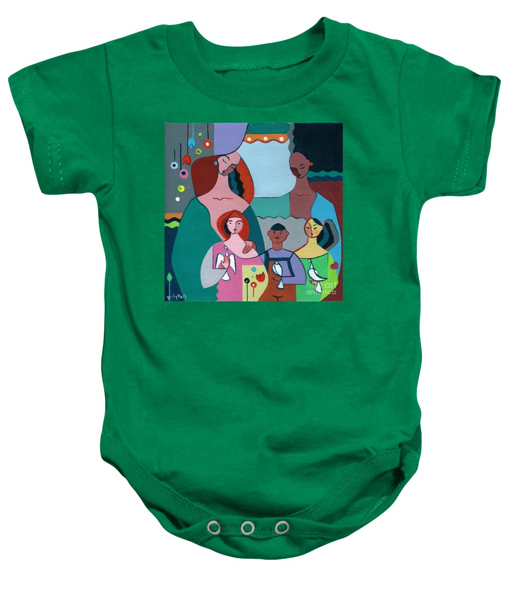 Peace Baby Onesie featuring the painting A Peaceful World For Our Children by Elisabeta Hermann