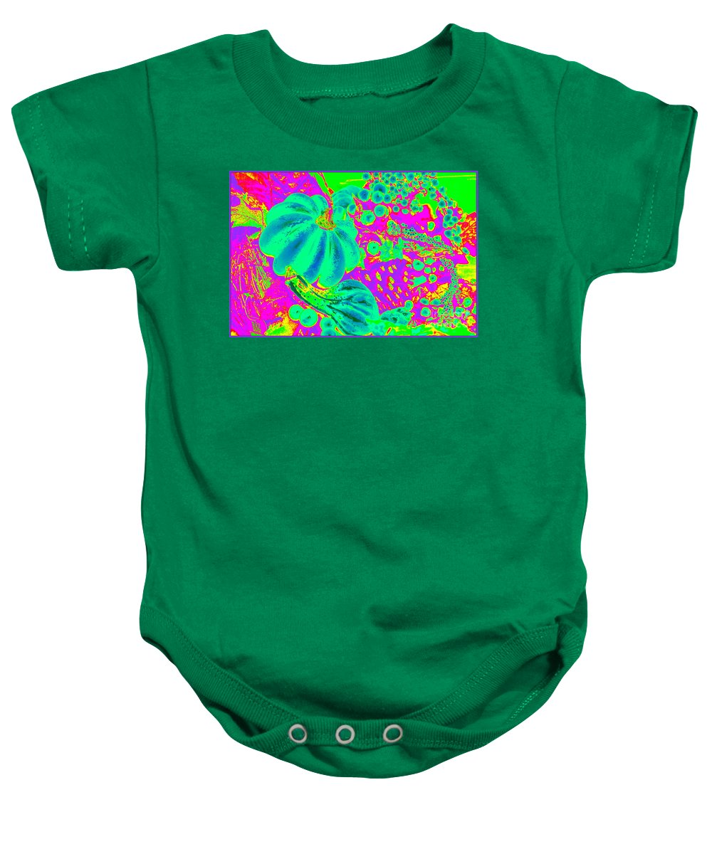 Pop Art Baby Onesie featuring the photograph Autumn Harvest In Green And Purple - Pop Art by Dora Sofia Caputo Photographic Design and Fine Art