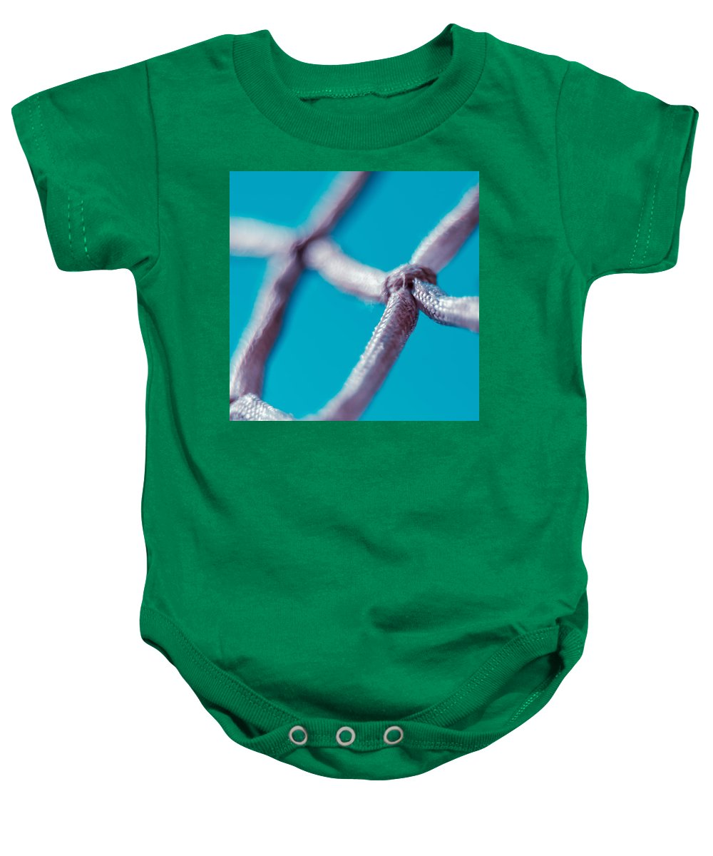 Net Baby Onesie featuring the photograph Basketball Net by Alex Grichenko