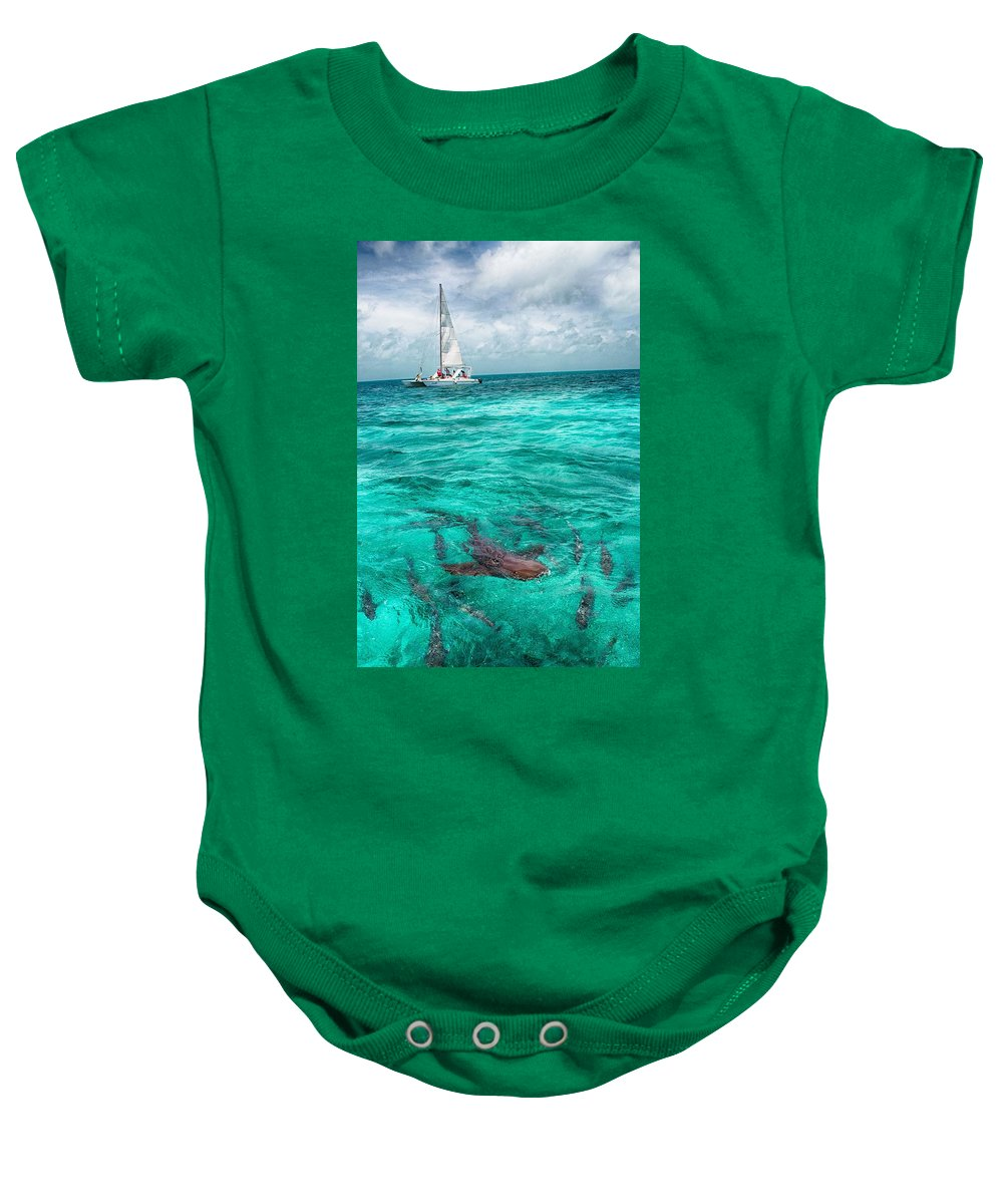 Shark Print Baby Onesie featuring the photograph Belize Turquoise Shark N Sail by Kristina Deane