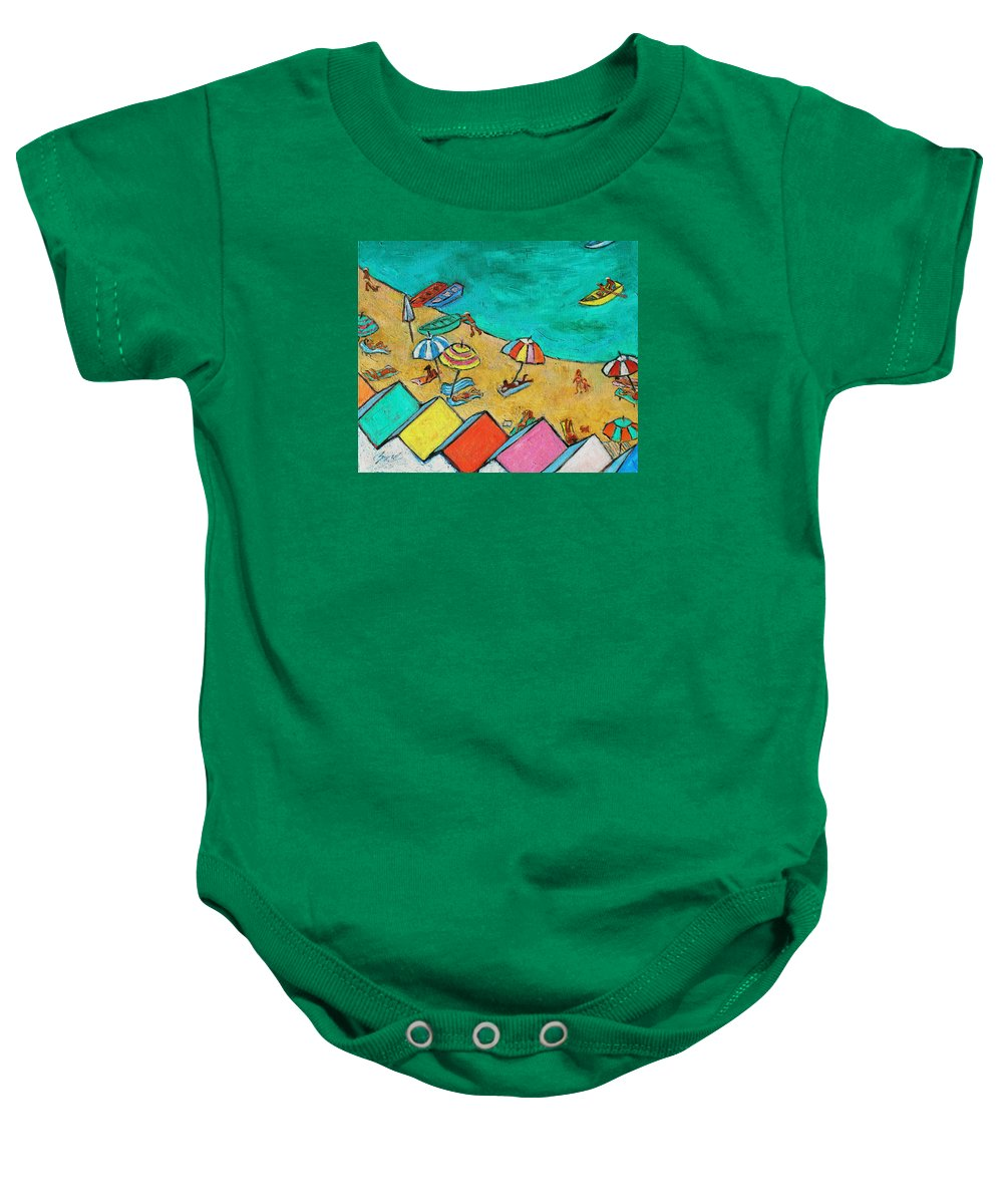 Beach Baby Onesie featuring the painting Boats In Front Of The Buildings Ix by Xueling Zou