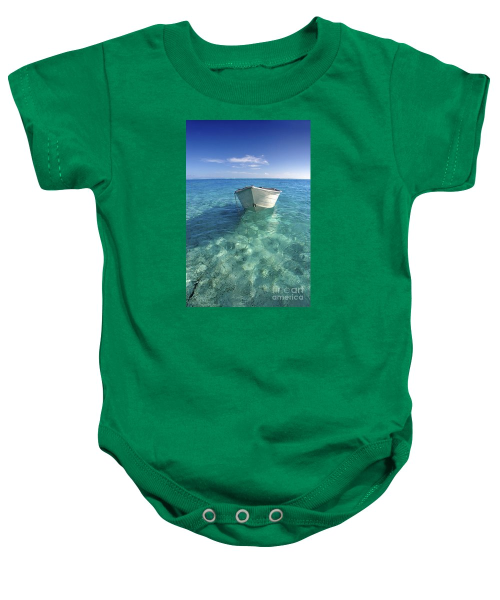 Afternoon Baby Onesie featuring the photograph Bora Bora White Boat by M Swiet Productions