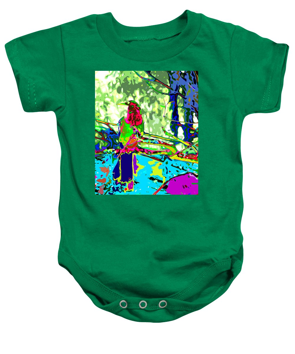 Anhinga Baby Onesie featuring the digital art Brilliant Plumed Snake Bird by Norman Johnson