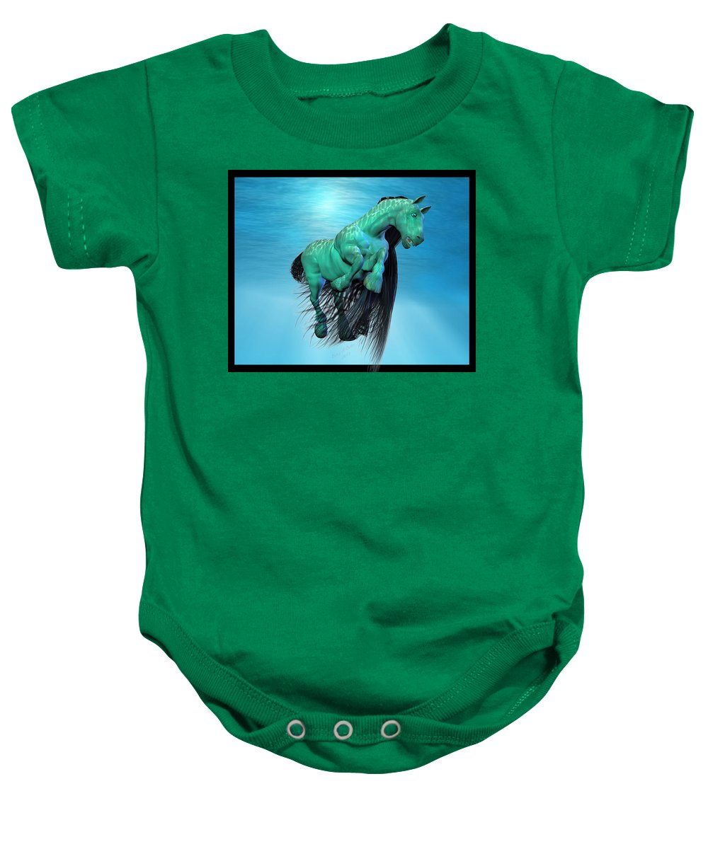 Horse Baby Onesie featuring the digital art Carousel Xi by Betsy Knapp