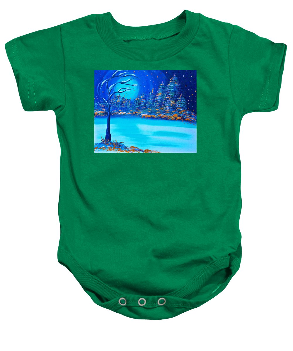 Merry Christmas Baby Onesie featuring the painting Christmas Night by Alex Art and Photo