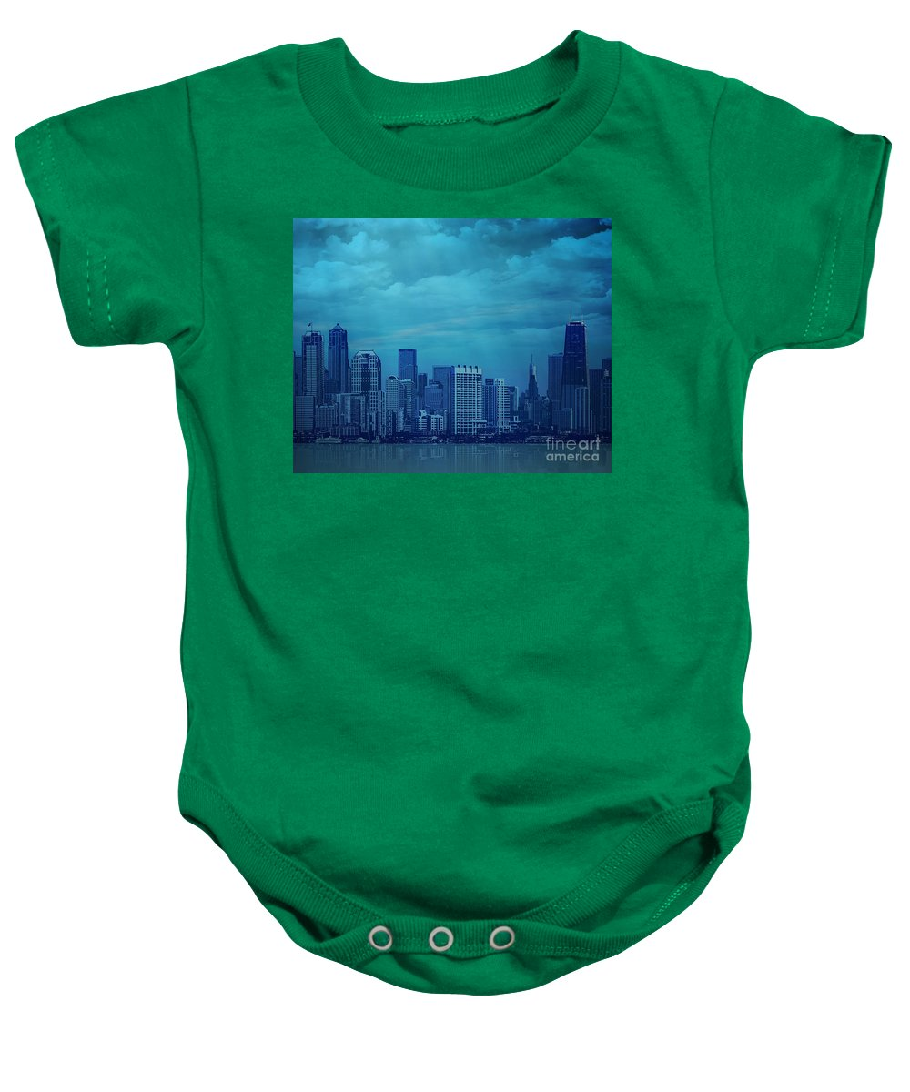 City Baby Onesie featuring the digital art City In Blue by Peter Awax
