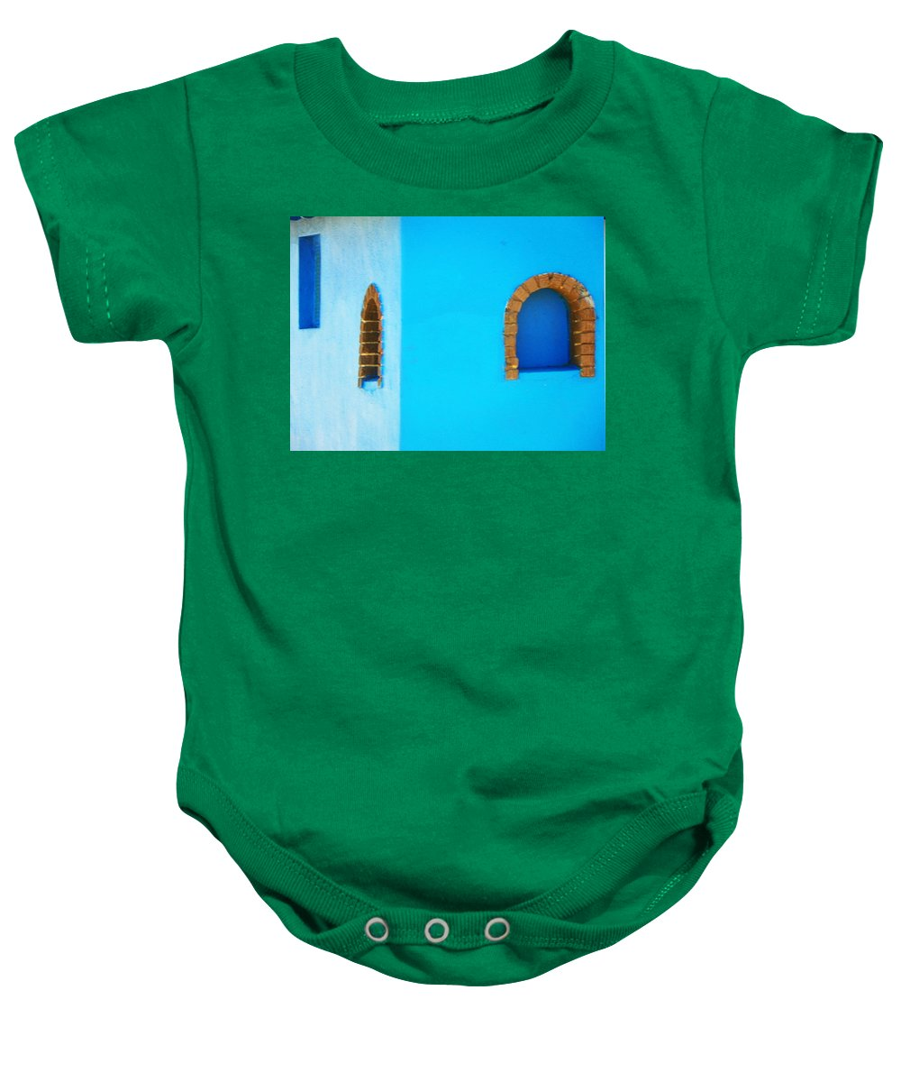 Minimal Baby Onesie featuring the photograph Color About Town - Blue by Lenore Senior