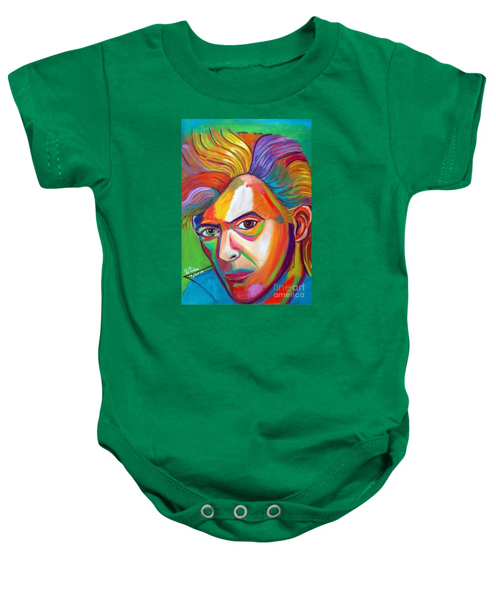 David Bowie Baby Onesie featuring the painting David Bowie by To-Tam Gerwe